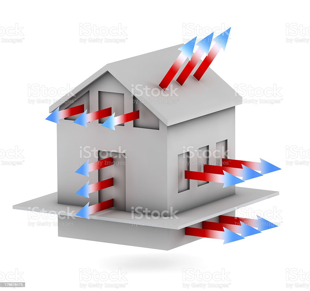 house with arrows of heat loss stock photo