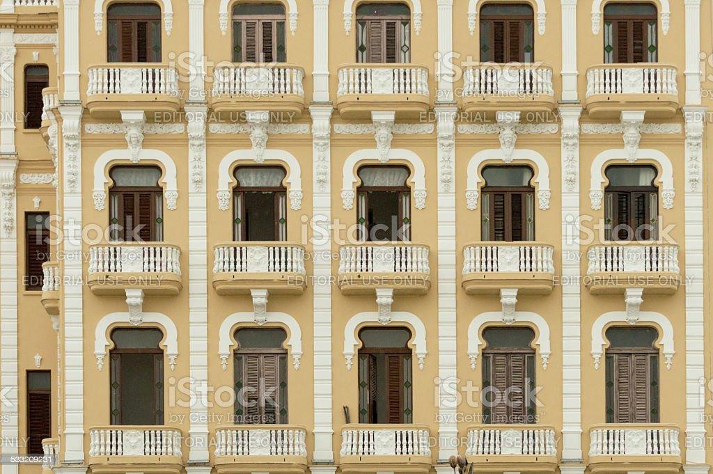 House with balconies in Havana, Cuba stock photo