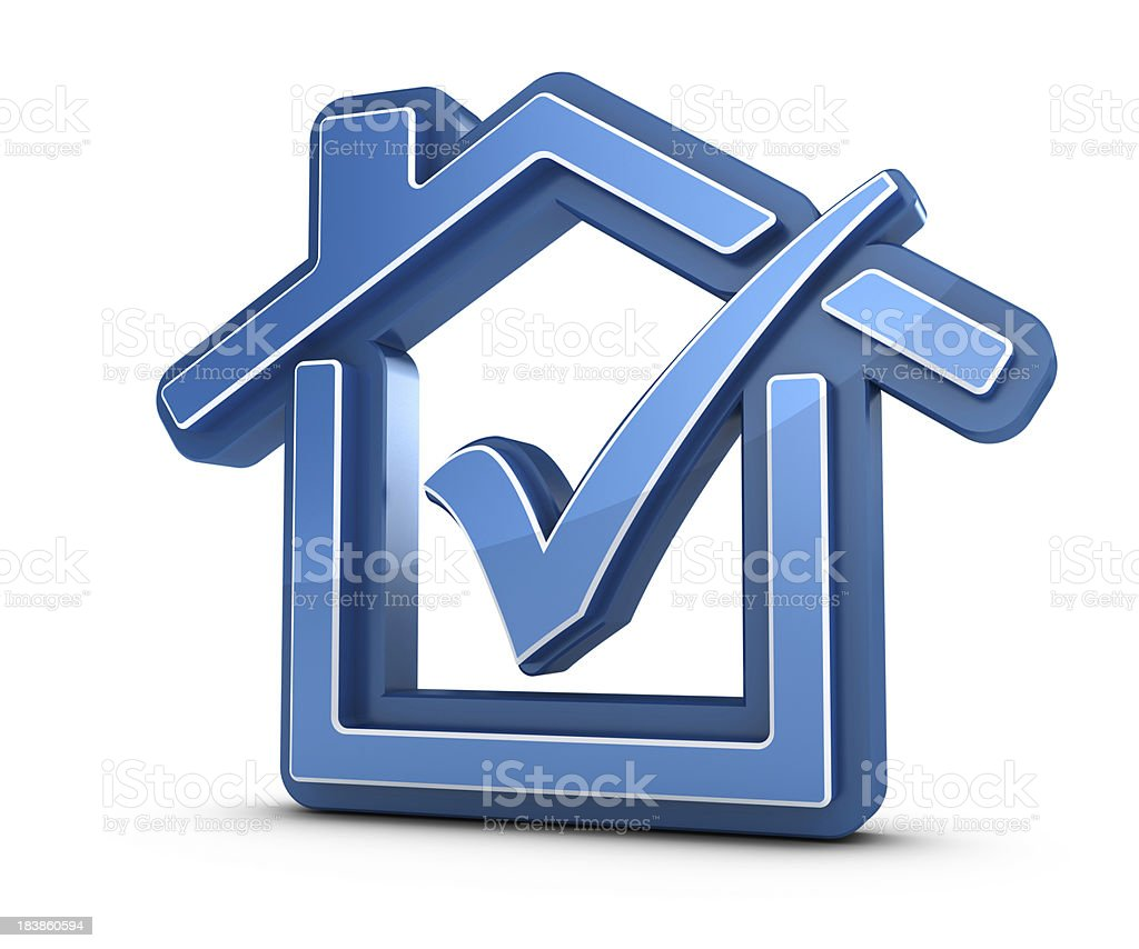 3D House with  Check Mark royalty-free stock photo
