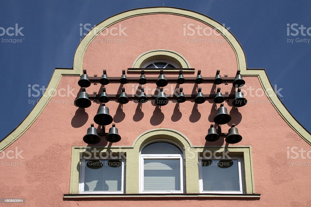 House with chimes in Obernkirchen stock photo