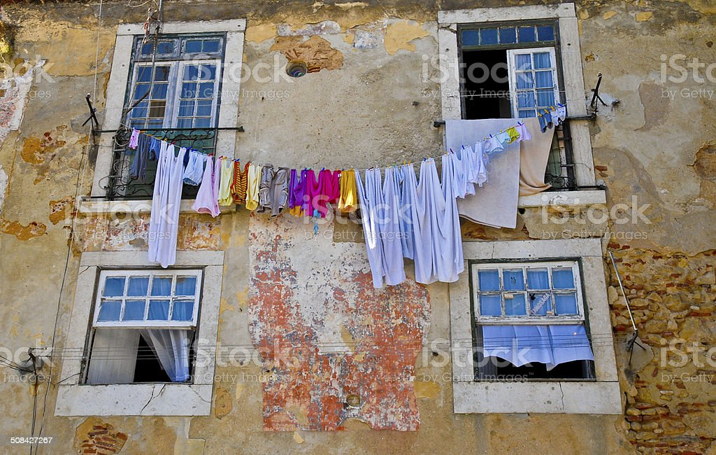house with clothes line stock photo