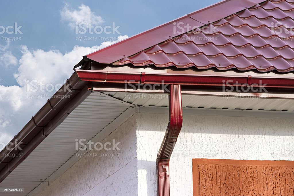 House with drainpipes stock photo