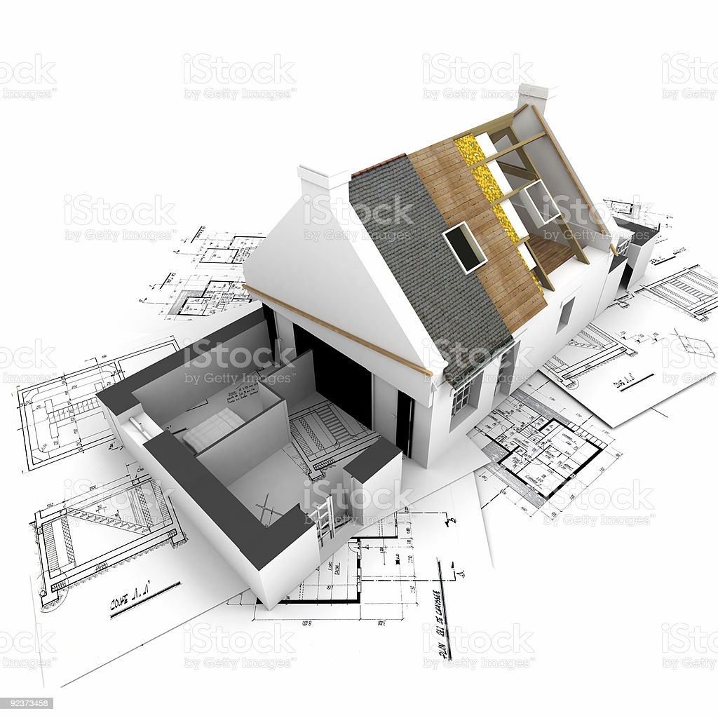 House with exposed roof layers and plans vector art illustration