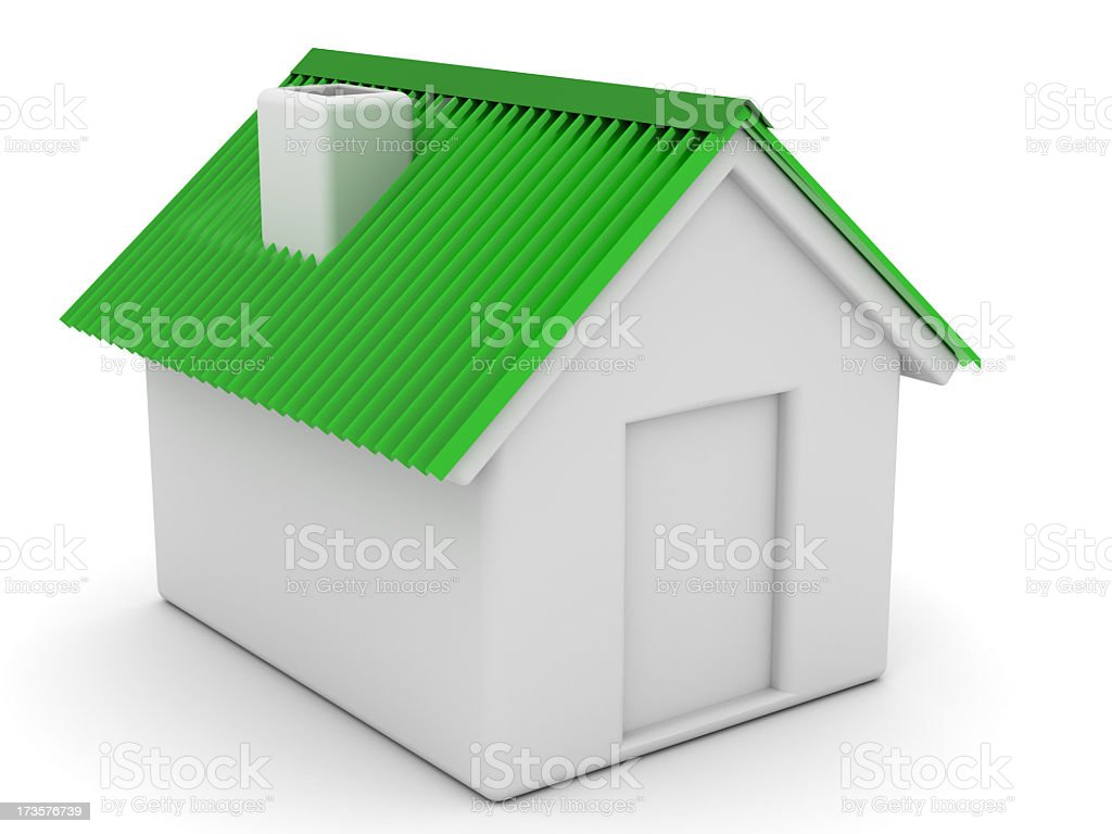 house with green roof stock photo