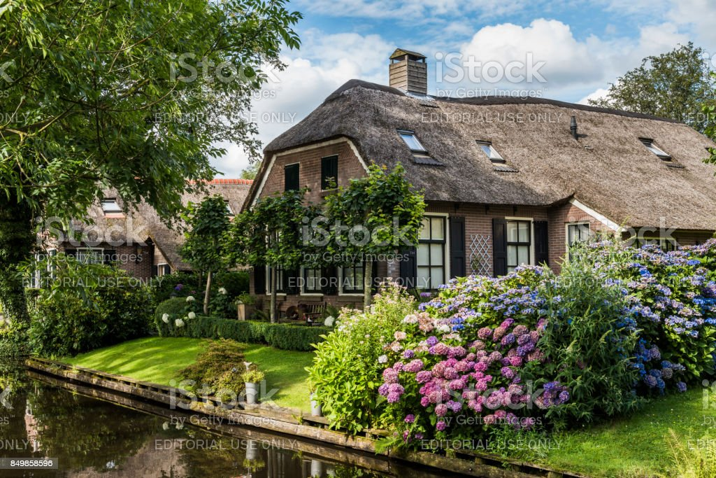 House with Hydrangea at Giethoorn stock photo