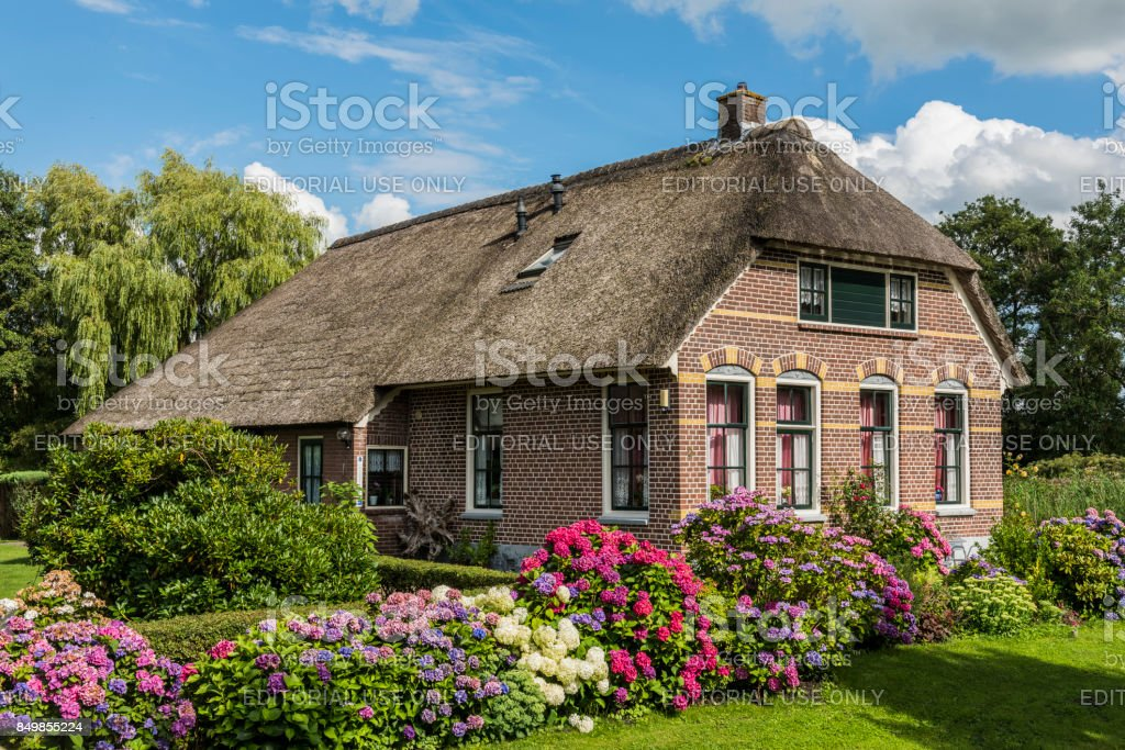 House with Hydrangea Giethoorn Netherlands stock photo