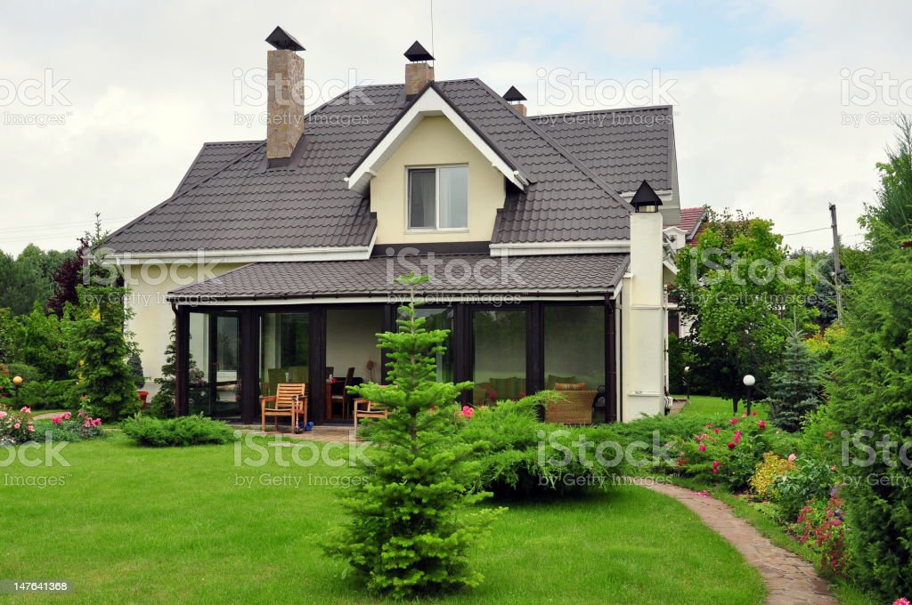 house with its garden stock photo