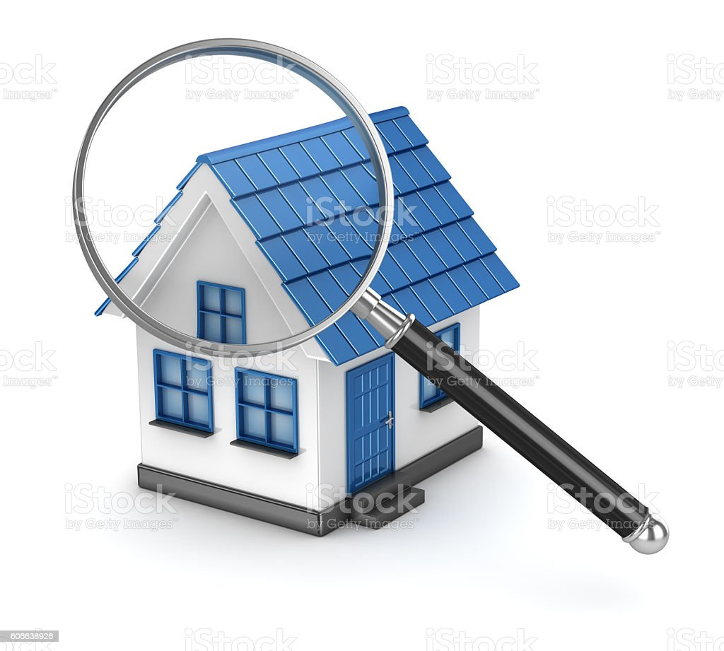 House with magnifier on white background stock photo
