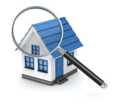 House with magnifier on white background