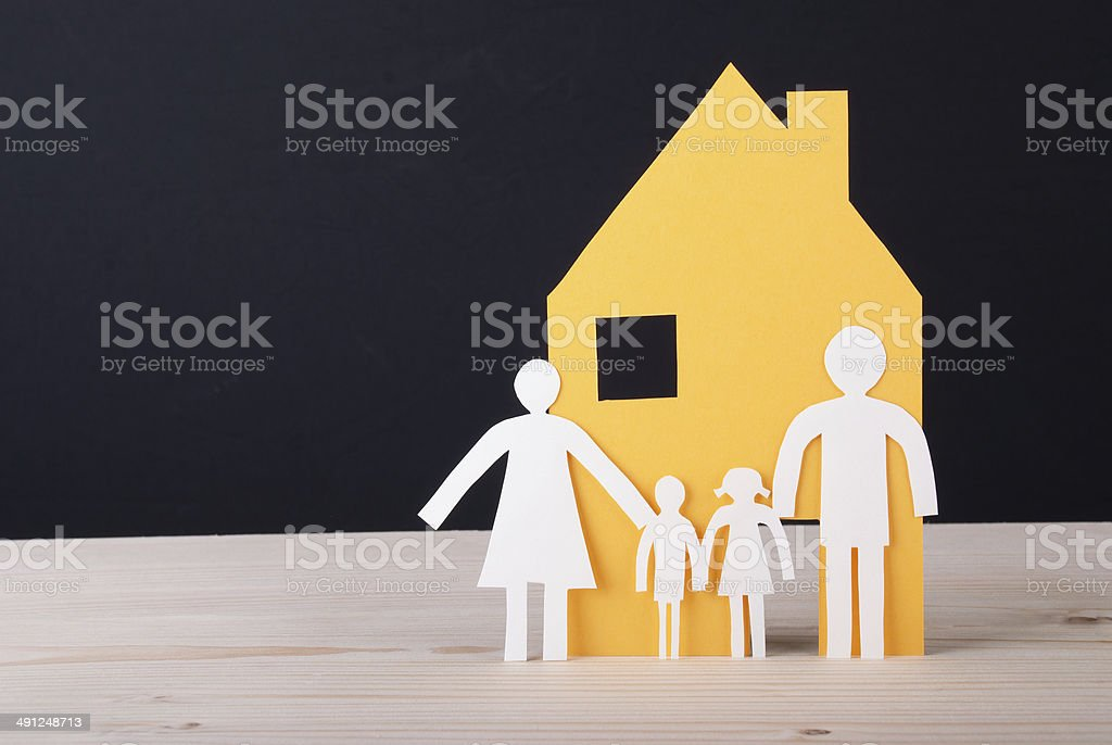 House with Paper Chain Family stock photo