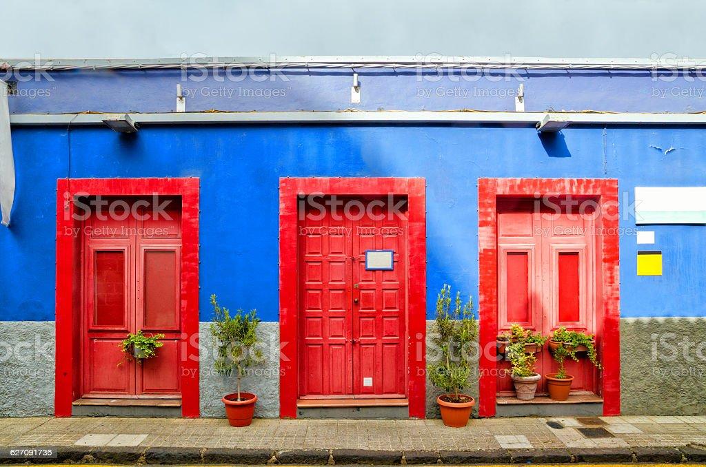 House with red doors in San Cristobal de La Laguna. stock photo
