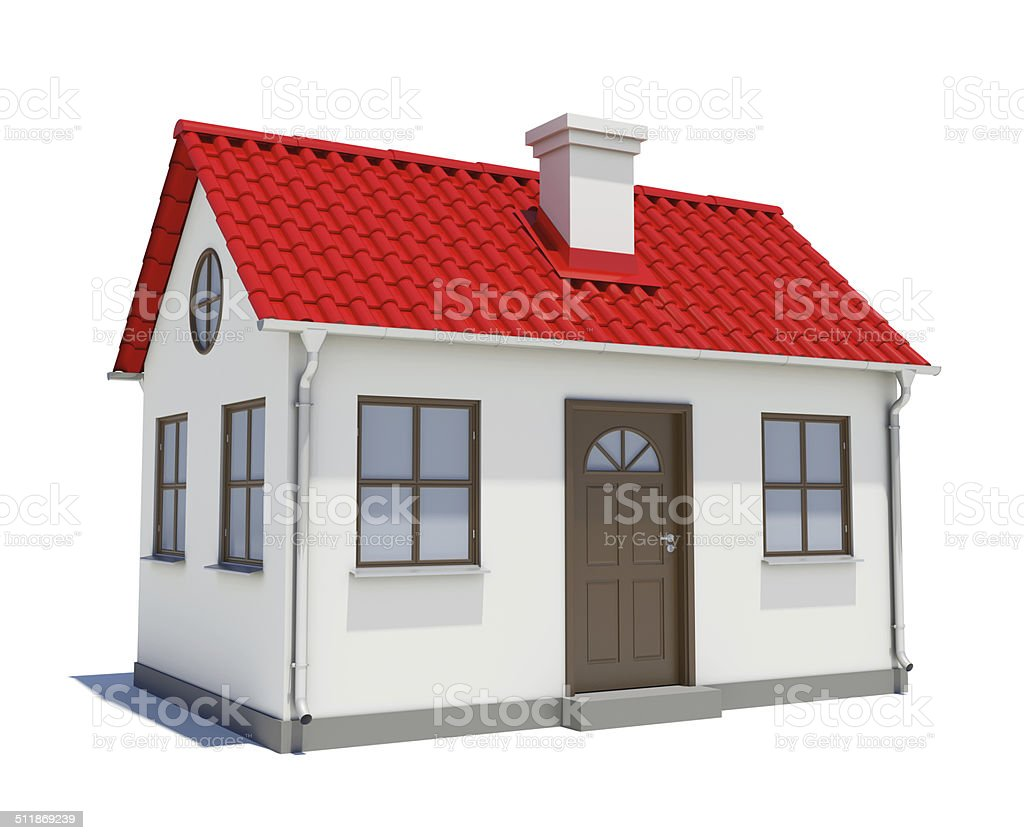 House with red roof stock photo