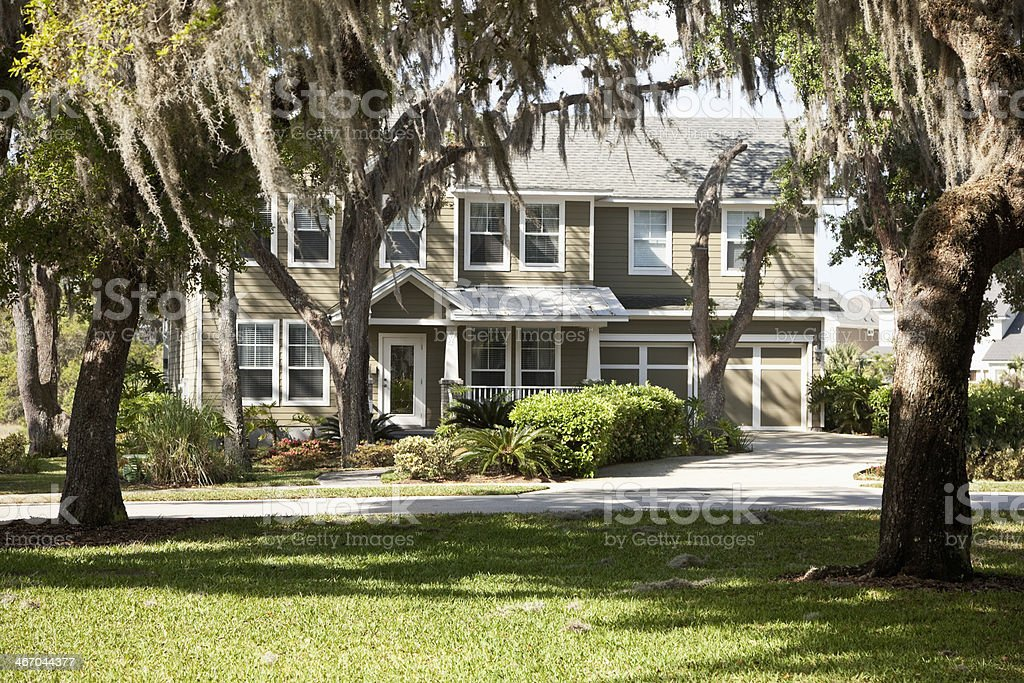 House with shady oak trees stock photo