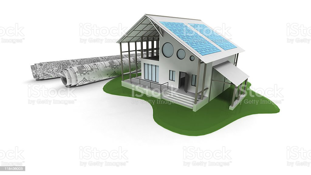 3D house with solar panels royalty-free stock photo