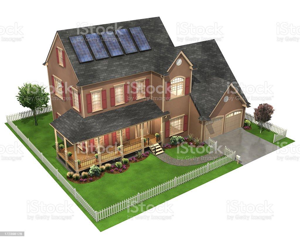 3 D の家、ソーラーパネル ロイヤリティフリーストックフォト