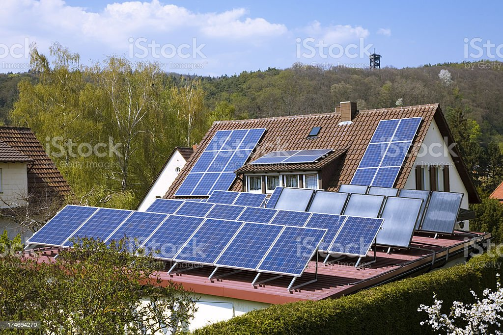 House with Solar Panels royalty-free stock photo
