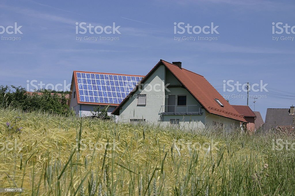 house with solar-cells stock photo