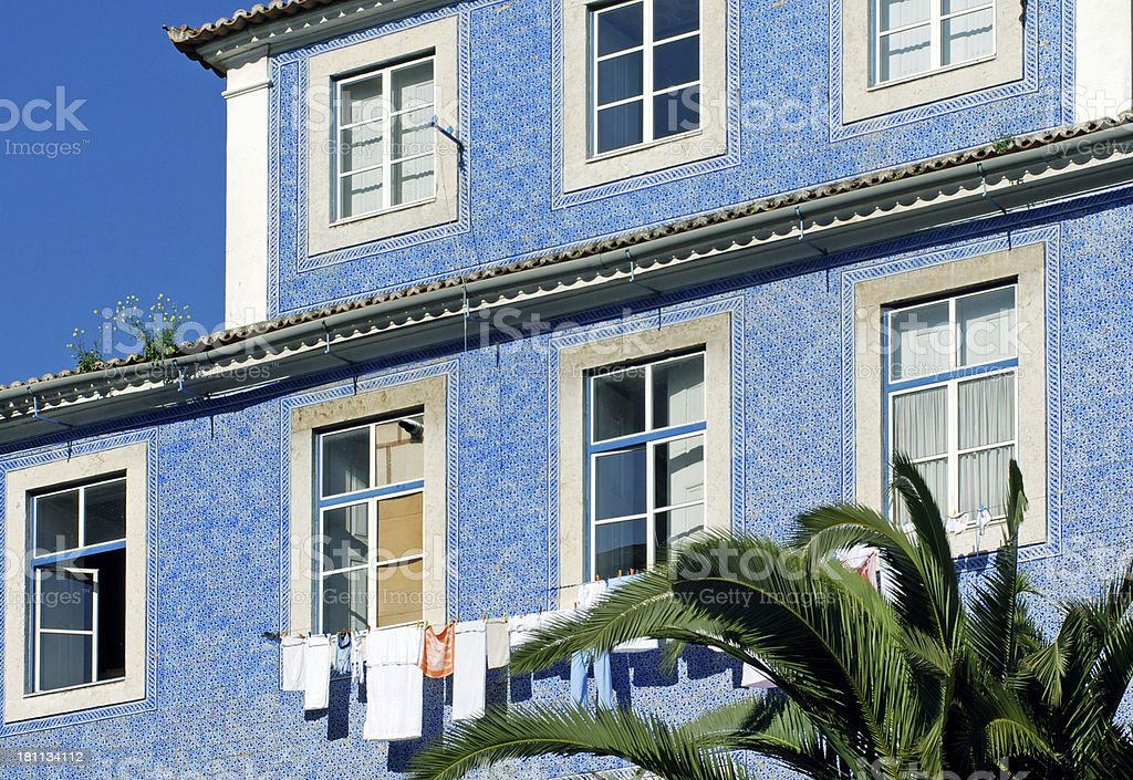 House with tile facade in the Alfama neighborhood of Lisbon royalty-free stock photo
