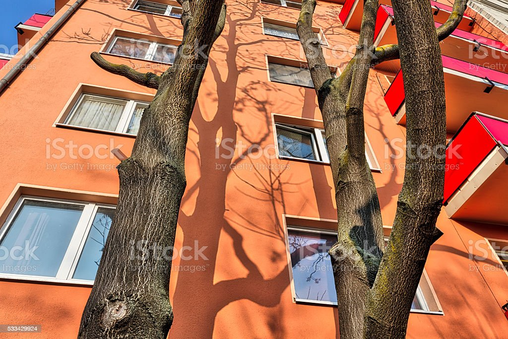 house with trees in front in Berlin Kreuzberg stock photo
