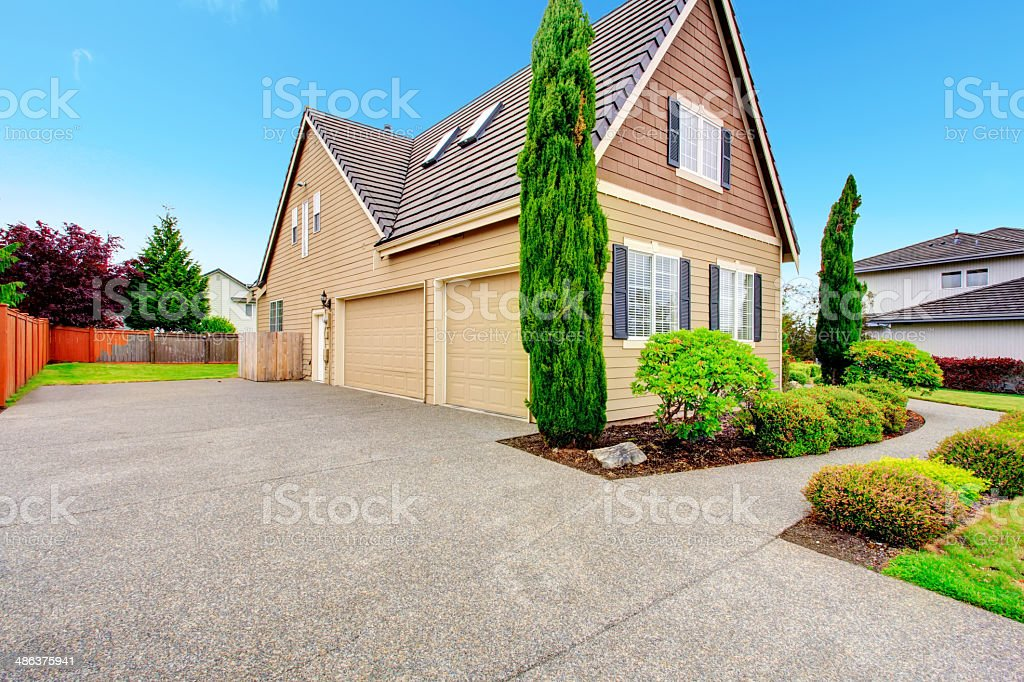 House with two car garage. stock photo