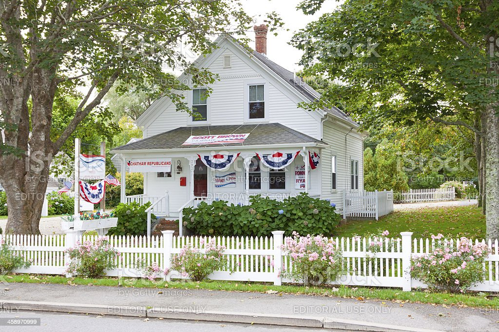 House with Vote Republican signs, Chatham, Massachusetts stock photo