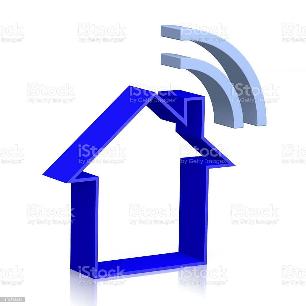 3D house with wifi symbol stock photo