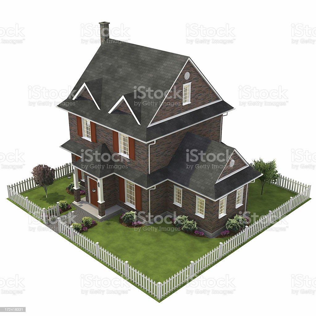 3 D の家の庭 ロイヤリティフリーストックフォト