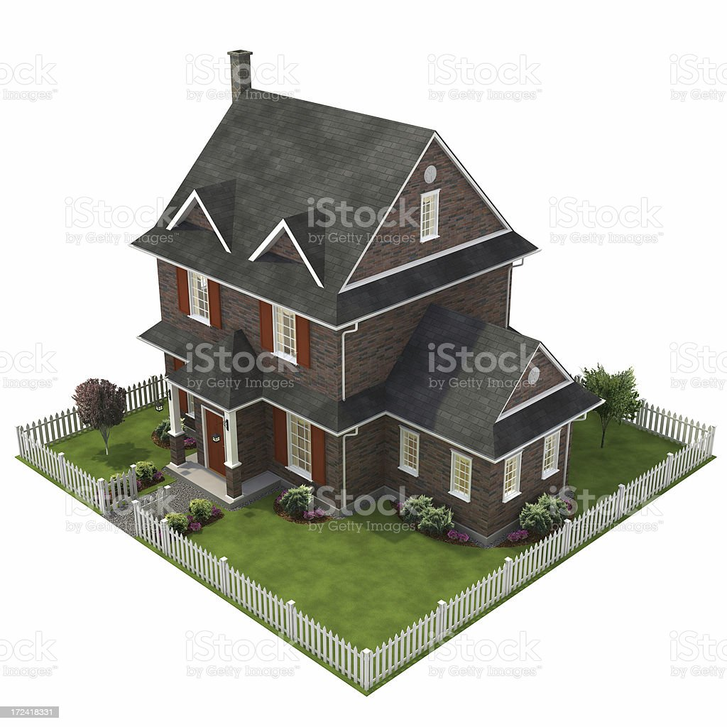 3D house with yard stock photo