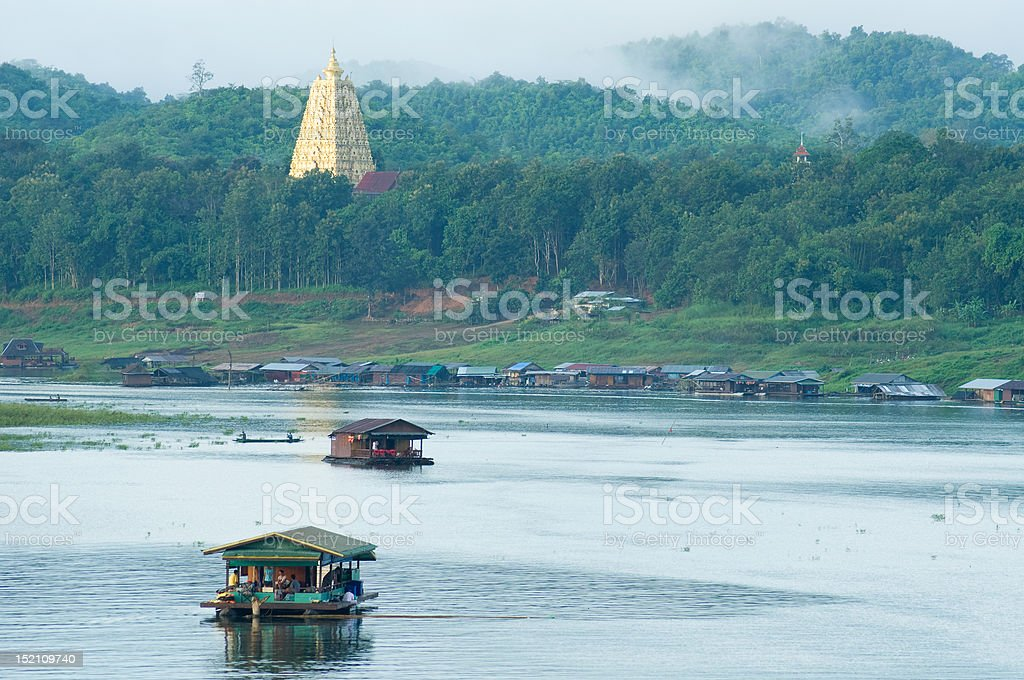 houseboat and pagoda royalty-free stock photo
