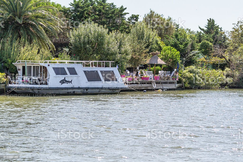 Houseboat in Camargue - France stock photo