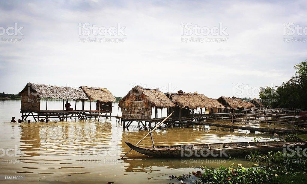 Houseboat in Cambodia stock photo