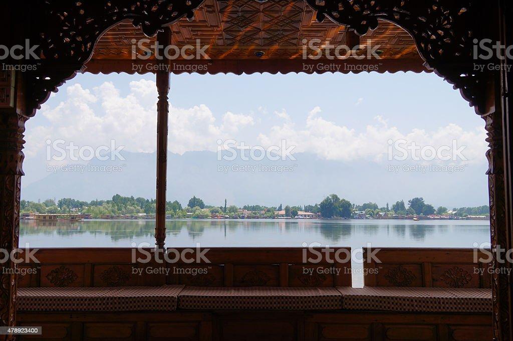 Houseboat in Dal Lake, Srinagar stock photo