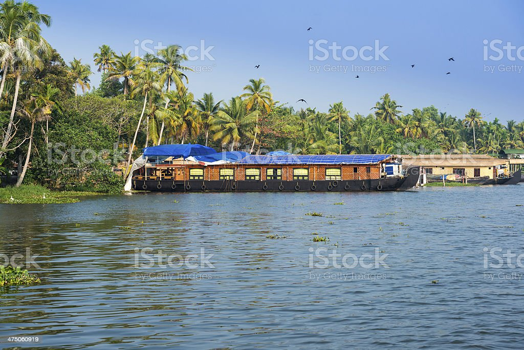 houseboat in kerala backwaters stock photo