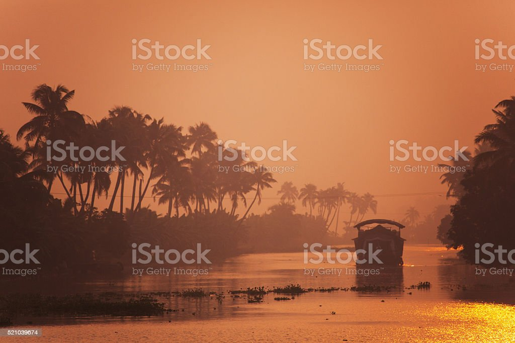 House-boat in Kerala, India stock photo