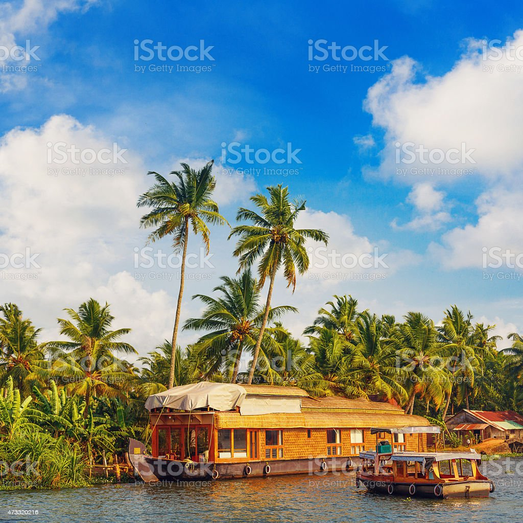 Houseboat in Kerala stock photo