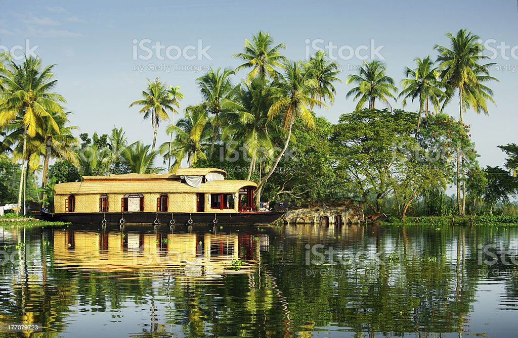 houseboat in the backwaters of Kerala royalty-free stock photo