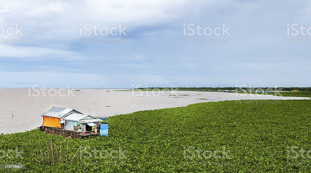Houseboat in Tonle Sap Lake, Cambodia stock photo