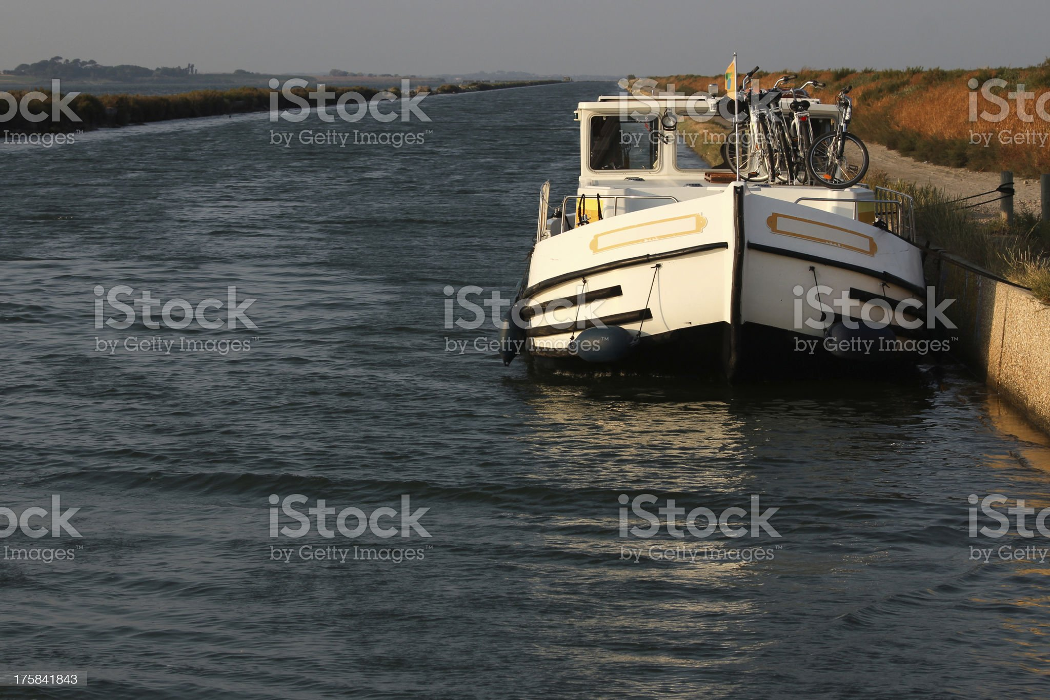 Houseboat moored in a canal royalty-free stock photo