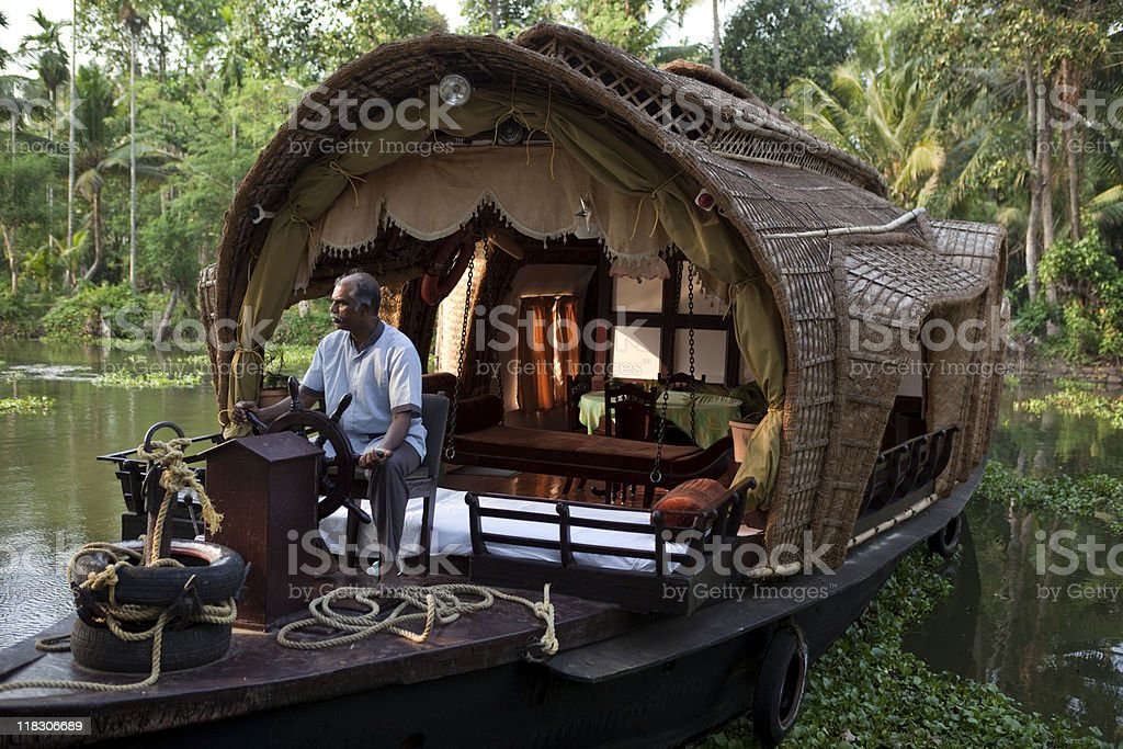 houseboat on Backwaters in Kerala stock photo