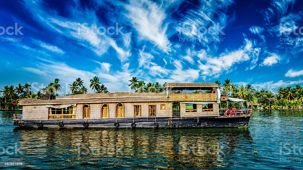 Houseboat on Kerala backwaters, India stock photo