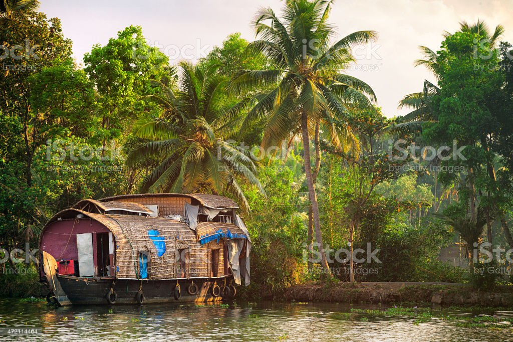 Houseboat on the Kerala Backwaters in India stock photo