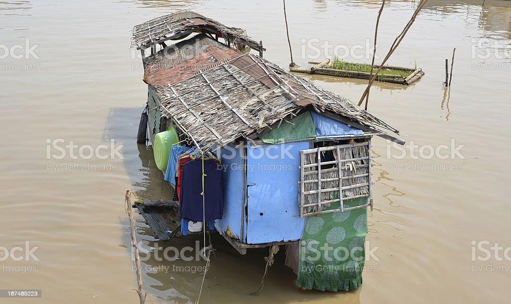 Houseboat on the lake, Cambodia royalty-free stock photo