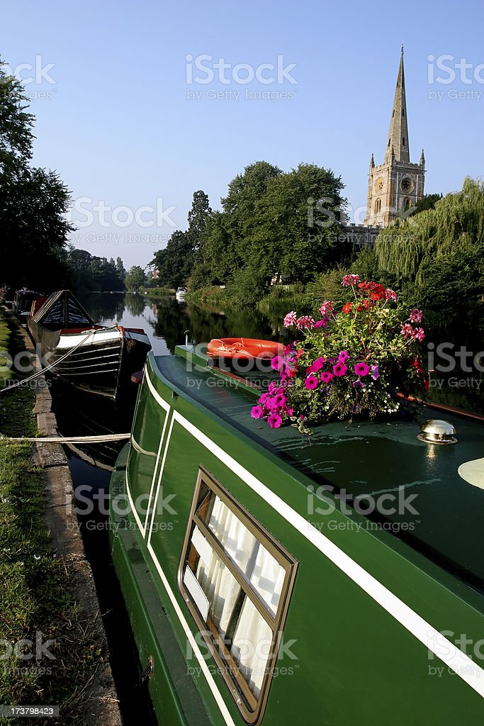 Houseboat on the River Avon royalty-free stock photo