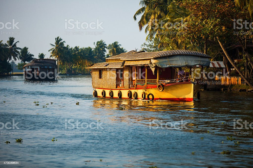 Houseboat Southern India stock photo