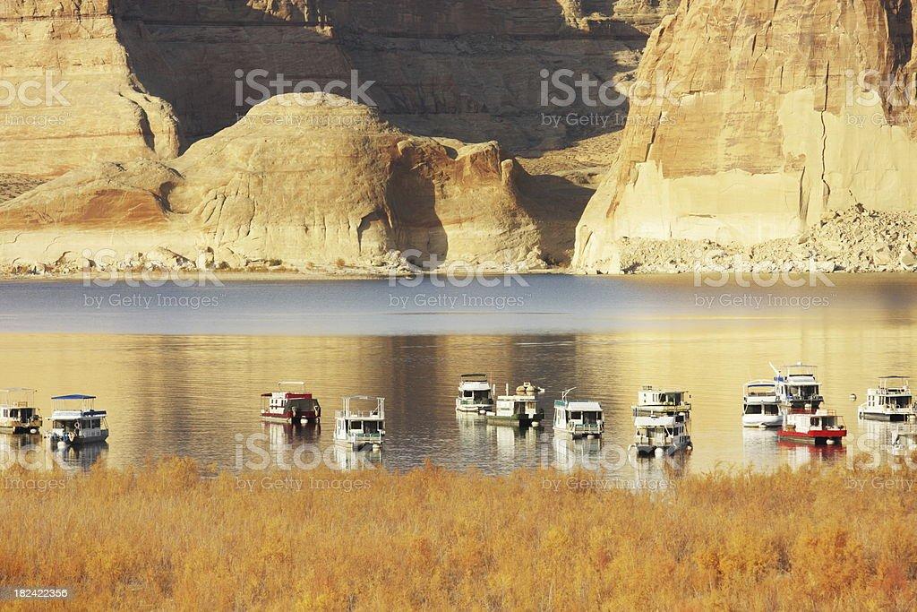 Houseboat Vacation Recreation Glen Canyon stock photo