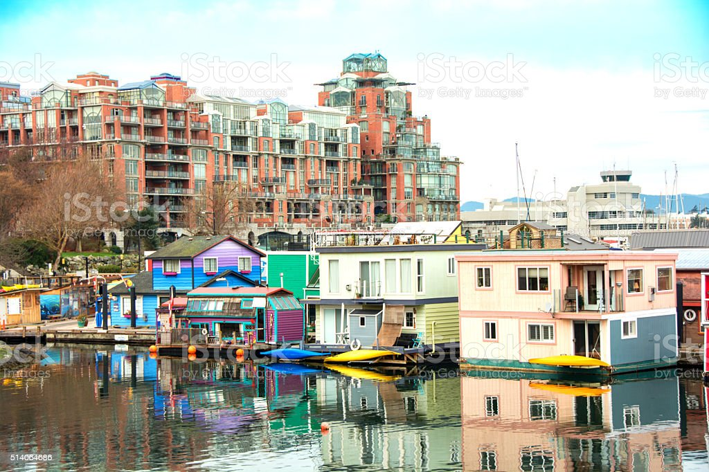Houseboats and condos in Victoria Harbor, - Spring stock photo