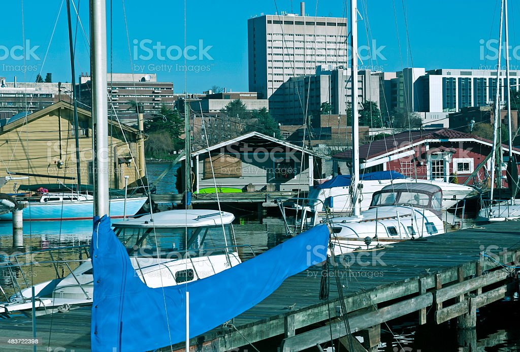 Houseboats and medical center in Seattle WA stock photo