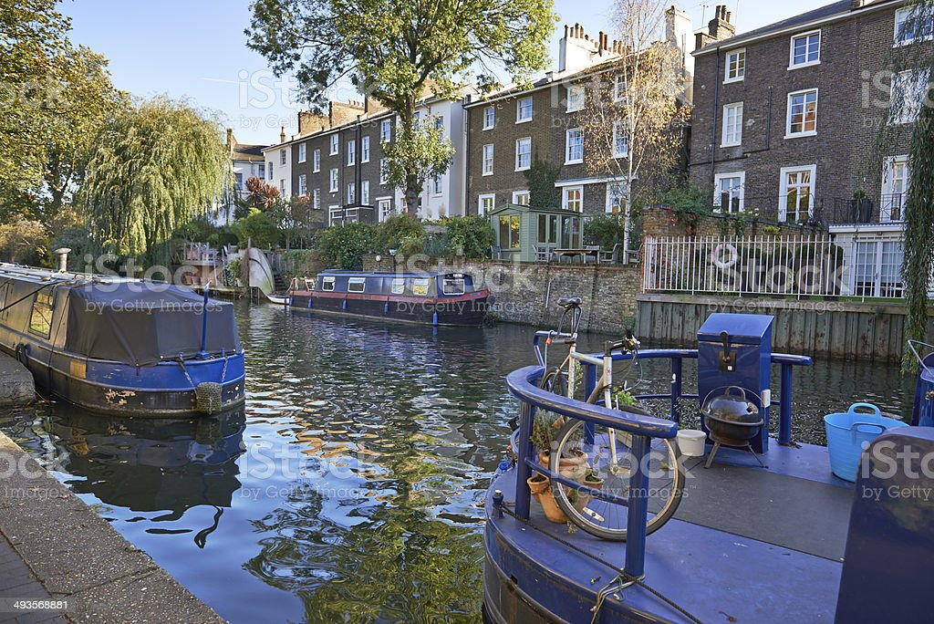 Houseboats are popular at Regent's Canal stock photo