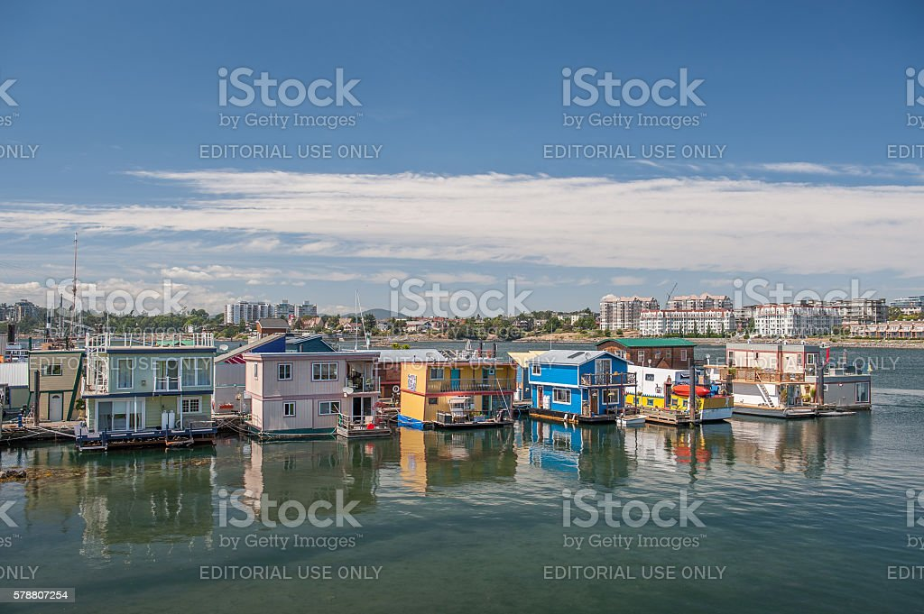 houseboats floating at Fisherman wharf in Victoria stock photo