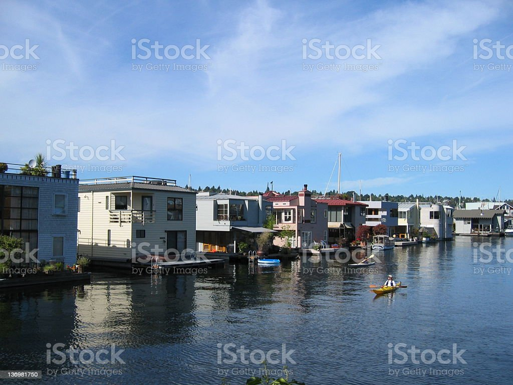 Houseboats in Seattle royalty-free stock photo